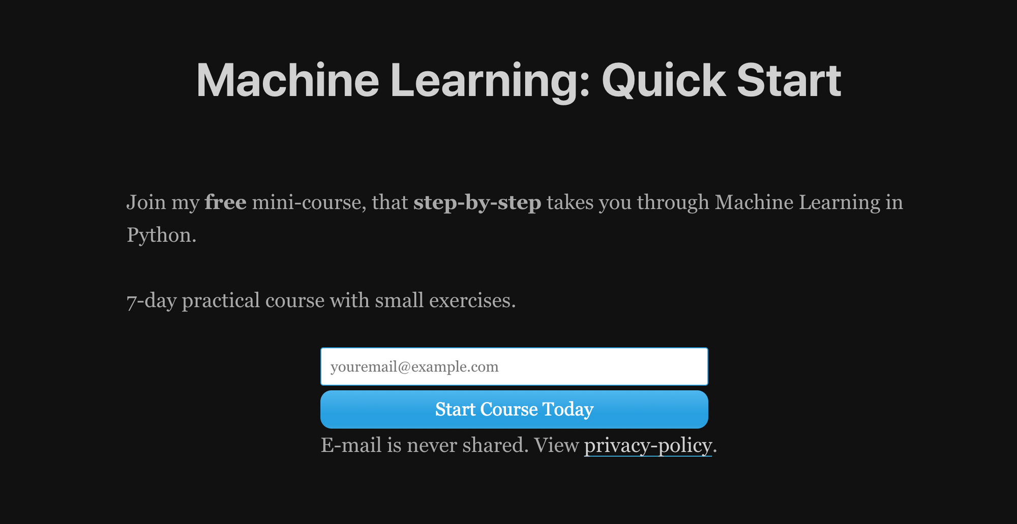 Machine Learning: Quick Start